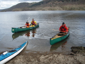 Back to land after a days solo and tandem canoe paddling